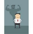 Businessman with powerfull muscular shadow vector image