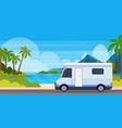 caravan car traveling on highway recreational vector image vector image