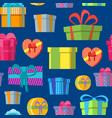 cartoon color gift boxes background pattern on a vector image vector image