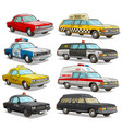 cartoon colorful american old retro different cars vector image vector image
