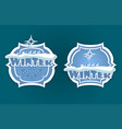 christmas sign of blue hue with winter text vector image vector image