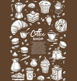coffee shop hot drinks and desserts cafe sketch vector image vector image