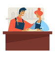 cooking classes man and woman kneading dough vector image vector image