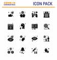 coronavirus awareness icons 16 solid glyph black vector image vector image