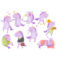cute funny unicorn in different poses and vector image