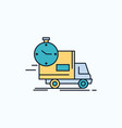 delivery time shipping transport truck flat icon vector image