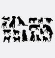 dog action animal silhouette vector image vector image