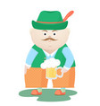 funny oktoberfest man in a hat with a mug of beer vector image vector image