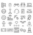 game signs black thin line icon set vector image