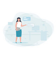 girl working at home chat concept vector image vector image