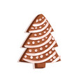 glazed gingerbread in the shape of a christmas vector image