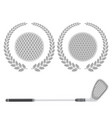 golf ball and stick with grey laurel isolated on vector image vector image