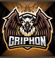 gryphon esport mascot logo design vector image