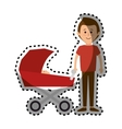 happy family members with baby car vector image vector image