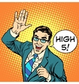 High five joyful businessman vector image vector image