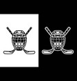 ice hockey helmet with stick black and white vector image