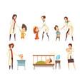 ill children hospital treatment cartoon set vector image vector image