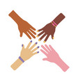 interracial hands teamwork flat style icon vector image vector image