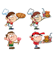 Kids With Fast Food- Collection vector image vector image