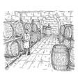 man tastes wine in cellar with wooden barrels vector image