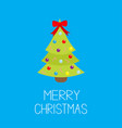 merry christmas fir-tree icon red bow tip top vector image