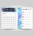 modern monthly planner and weekly list template vector image vector image