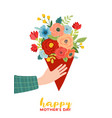 mothers day greeting card with flowers bouquet vector image