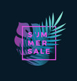 neon gradient fern and monstera palm leaf vector image vector image