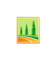 pine tree green hill logo vector image vector image
