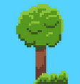 pixel tree and bushes from 8 bit graphics vector image vector image