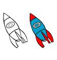 rocket coloring book vector image vector image