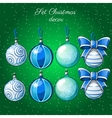 Set of Christmas balls on a green background vector image vector image