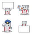 set of computer character with board police vector image vector image