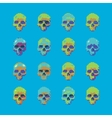 set of stylized skull on a blue background vector image vector image