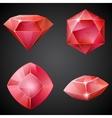 set red gemstones vector image vector image