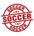 soccer round red grunge stamp vector image vector image