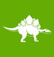 stegosaurus dinosaur icon green vector image vector image