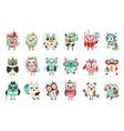 stylized design owls emoji stickers set cartoon vector image