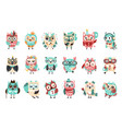 stylized design owls emoji stickers set of cartoon vector image