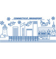 usa connecticut bridgeport winter city skyline vector image vector image