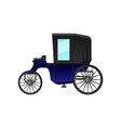 vintage carriage with blue cab and big wheels vector image vector image