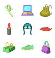 woman activity icons set cartoon style vector image vector image