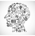Silhouette of a man consists of icons vector image