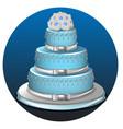 three tier light blue wedding cake vector image