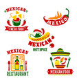 mexican cuisine restaurant icons set vector image