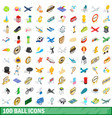 100 ball icons set isometric 3d style vector image