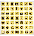 49 icons on a yellow background vector image