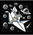astronauts riding paper birds vector image vector image