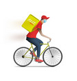 bicycle food delivery courier man with box vector image