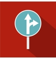 Blue straight or right turn ahead road sign icon vector image vector image